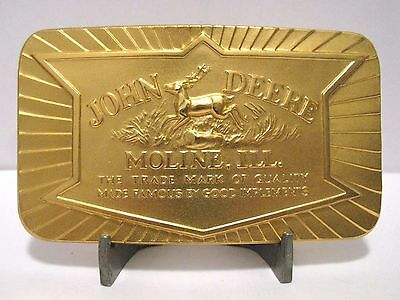 John Deere 1984 Belt Buckle 1936 Trademark Leaping 4 Leg Deer Arrow Logo Gold Pl