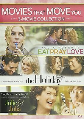 Movies That Move You: Julie  Julia/The Holiday/Eat Pray Love (DVD, 2016) NEW