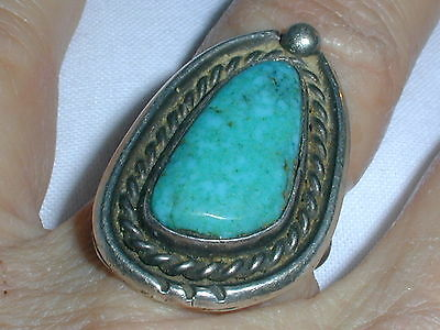 Beauty! Bold Sterling Old Pawn Turquoise Ring- Size 6.5!!