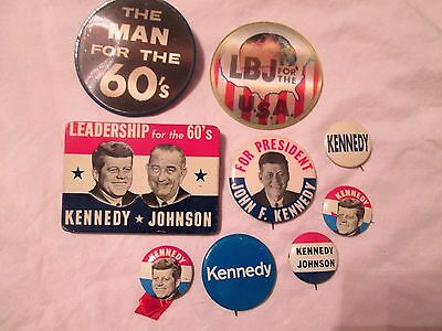 Vintage Original President Kennedy Johnson Pins Pin Backs Political Buttons
