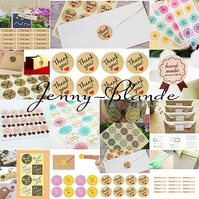 Hand Made/Thanks Stickers Seals Label For Wedding Gift Box Craft Baking Package