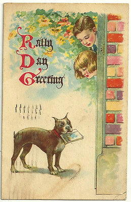 1925 Rainy rally day Boston Terrier puppy vintage postcard dog puppy church mail