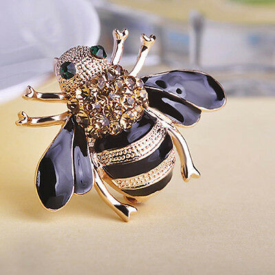 Delicate Little Bee Crystal & Rhinestone Pin Brooch Fashion Accessory For Women