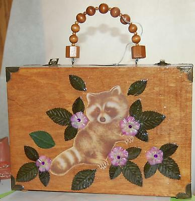 Unique RACCOON Wood Box Purse BOXXY LADY Hand Bag Bandit Varmit Made in USA