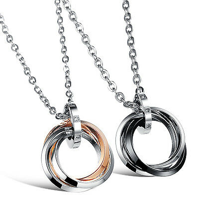 Stainless Steel Couple's Women Men Three-Circles Pendant Necklace Jewelry Gift
