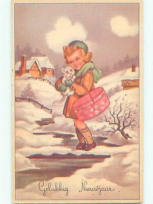 Unused Pre-Chrome new year foreign CUTE GIRL HOLDS CAT AND ANTIQUE HAT BOX J4300
