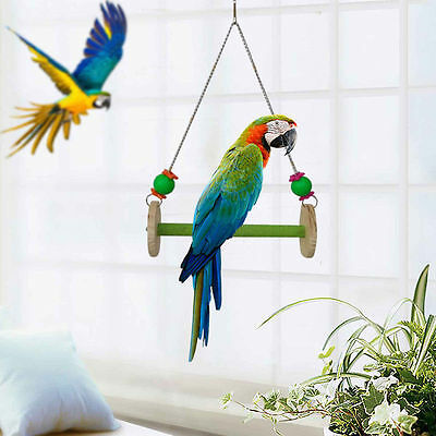Wooden Pet Bird Stand Swing Toy Cage Hanging Chew Toys Parrot Parakeet Cockatiel