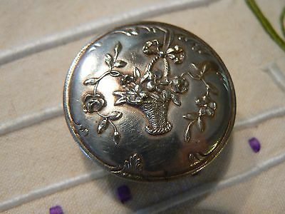 Beautiful Antique White Metal French Trinket Pill Patch Box Basket Flowers 4/mr