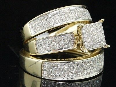 10k Yellow Gold Over His & Her Matching Diamond Wedding Engagement Ring Trio Set