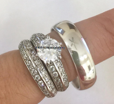 14K White Gold Clear Diamond Trio Wedding Bridal Engagement Ring Set His & Her