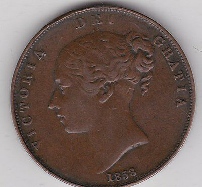 1858 Victoria Copper Penny In Good Very Fine Condition