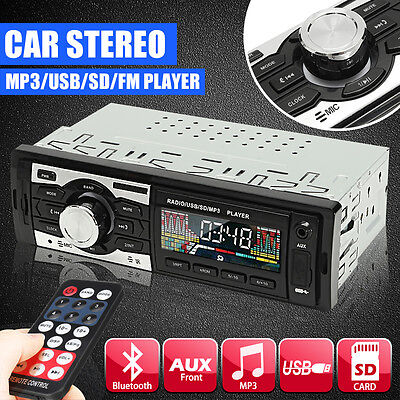 12V In-Dash Car Stereo Audio Aux Input Receiver Radio/MP3/USB/SD Player + Remote