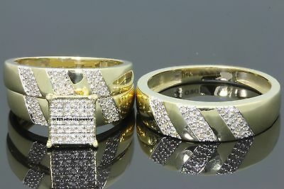 His And Her Diamond Wedding 14K Yellow Gold Trio Bridal Band Engagement Ring Set