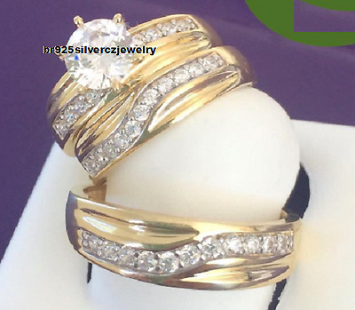 His and Her 14K Yellow Gold Engagement Bridal Wedding Band Diamond Trio Ring Set