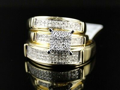 His & Hers Diamond Engagement Bridal Wedding Band Ring 14k Yellow Gold Trio Set
