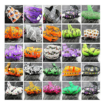 HALLOWEEN GROSGRAIN RIBBON 10mm 16mm 25mm *12 SPOOKY DESIGNS* COBWEB GHOSTS CATS