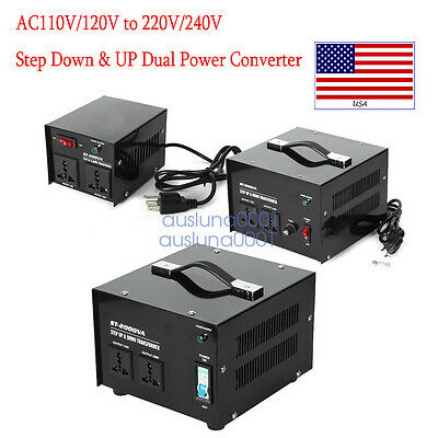 100-3000 Watt Voltage Converter Transformer Heavy Duty Step Up/Down AC 110V 220V