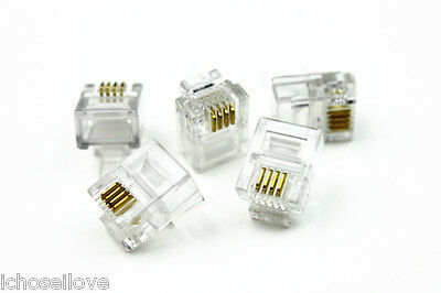 20PCS RJ11 RJ-11 6P4C 4 Pin Modular Telephone Phone Crystal Plug Connector