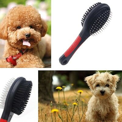 Double Sided Pet Brush Dog Cat Hair Grooming Fur Shedding Cleaning Comb Tool New