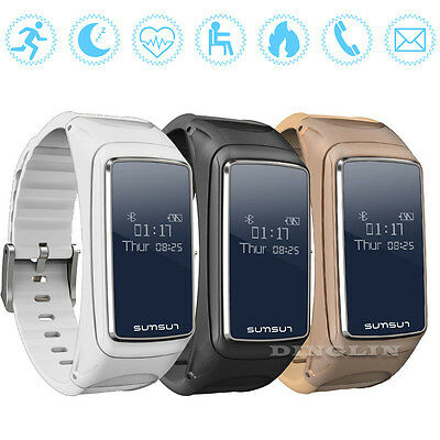 Waterproof B7 Heart Rate Monitor Bluetooth Smart Bracelet Earset For iOS Android