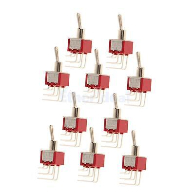 On / On Mini Side Bend Toggle Schalter 6 PIN Modell DPDT Red Pack von 10