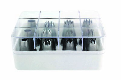 JEM Cake Decor Icing 12 Piece Savoy Nozzle Tip Set Boxed Box Storage Container