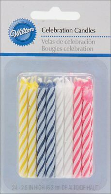 Wilton 24 Pack Assorted Striped Spiral Birthday Candles Celebration Decorations