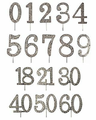 Diamante TOPPER Wedding Anniversary Birthday Number Cake Sparkling Decorations