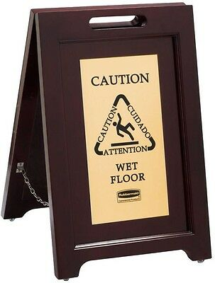 Wooden Wet Floor Caution Safety Sign Non Slip Stance Store Mall Office Coffee
