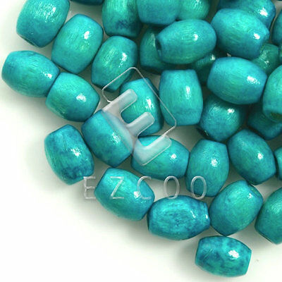 30g(200pcs About) Wood Spacer Beads Rice Turquoise Blue 6mm Jewelry Making