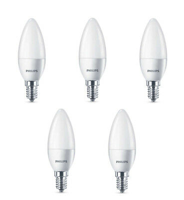 5 x Philips LED Frosted E14 Edison Screw 40w WarmWhite Candle Light Bulbs 470lm