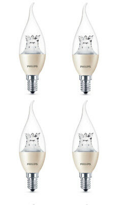 4x Philips Warmglow LED E14 Edison 25W Dimmable Candle Bent Tip Light Bulb 250lm