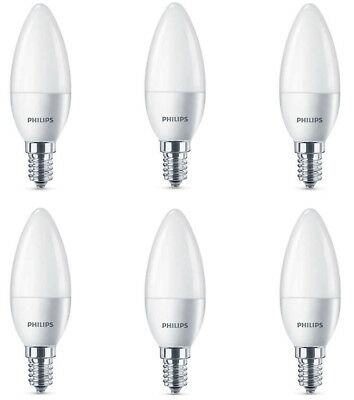 6 x Philips LED Frosted E14 Edison Screw 40w WarmWhite Candle Light Bulbs 470lm