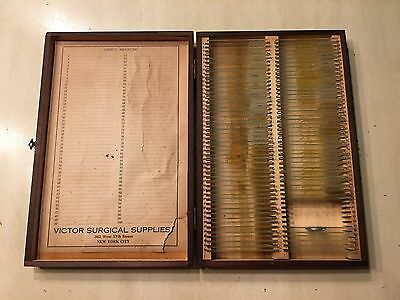 Antique Wood Box of Microscope Sildes--Victor Surgical Supplies