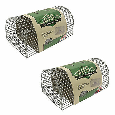 2x STV Self Set Multi Catch Metal Wire Rat Mouse Rodent Vermin Cage No Kill Trap