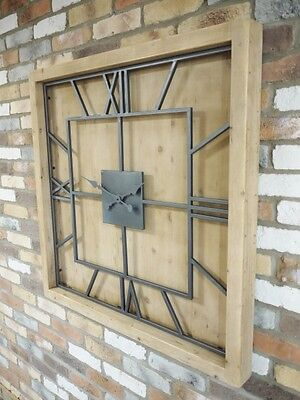 XL 1m Industrial  Style Wooden & Metal Wall Clock Living Room Extra Large