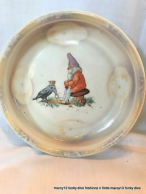Vintage Child's Baby Dish Bowl Marked Germany w Gnome & Crow King