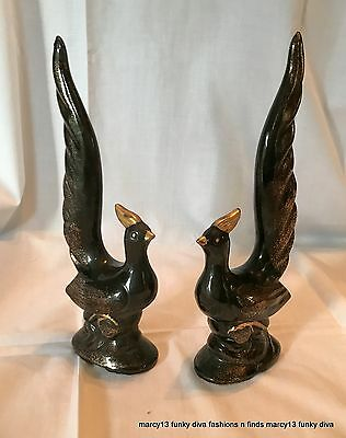 Vintage Pair Redware Pheasants w Tall Tails Gold Gilded Unmarked
