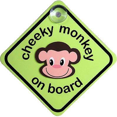 Indigo CHEEKY MONKEY ON BOARD SIGN Cute Design Car Sign With Suction Cup  - BN