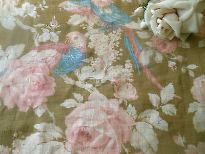 Antique Shabby Romantic Birds Roses Light Cotton fabric #1~ Soft Pink Blue Brown