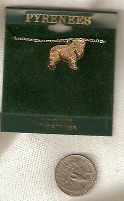 "Great Pyrenees Goldtone Necklace Pendant 18"" Chain Jewelry"