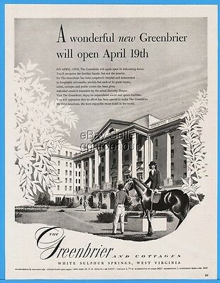 1948 Greenbrier Hotel White Sulphur Springs WV Horse Travel Vacation ad