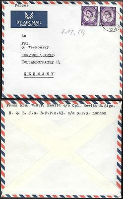 Bahrain British Field Post Cover to Germany 1959. Persian Gulf Land Forces