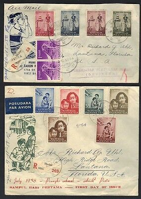 Indonesia 1956-58 3 Registered Covers With First Day Of Issue Cancels All To Us