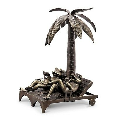 """Vacation Frog Couple Palm Tree Garden Sculpture Metal Statue Pool Pond 24""""H"""