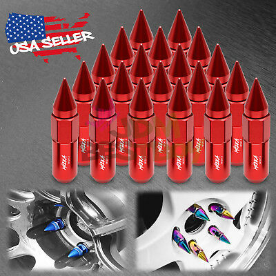Red 20 PCS M12X1.5mm Lug Nuts Spiked Extended Tuner Aluminum Wheels Rims Cap