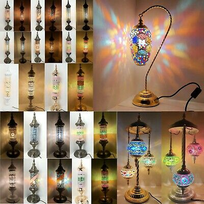 Turkish Floor Lamp, Hand Made 7 Glass Mosaic Shades & Metal CE ROHS