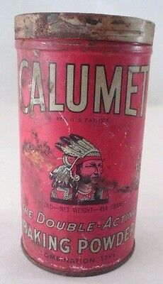 1930s Prim Rustic 1 Pound Calumet Baking Powder Tin Lithograph Litho Canister