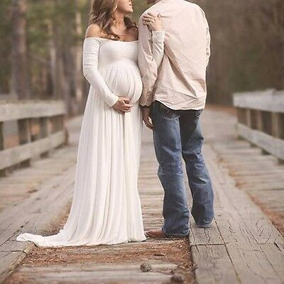 Maternity Chiffon Gown Maxi Dress Photography Photo Clothes Props Pregnant Dress