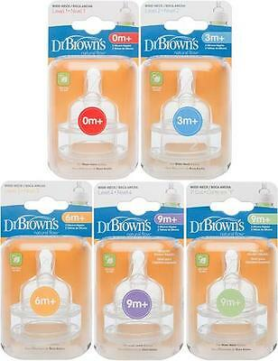Dr Browns OPTIONS WIDE NECKED TEATS 2 Pack All Sizes Bottle Feeding BN